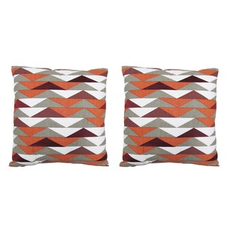 "Seema Krish Red ""Tribeca"" Pillows 18x18 - Pair"
