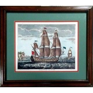 Antique Troisième Rang a la Voille Ship Engraving