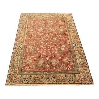 """Vintage Persian Tabriz Area Rug - 3'4.5"""" x 4'10"""""""