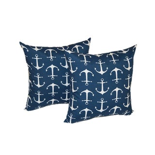 Navy Blue & White Nautical Anchor Pillows - A Pair
