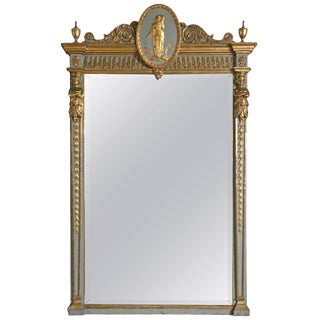 19th C. French Parcel-Gilt Painted Mirror