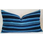 Image of Indigo Blue Striped Down & Feather Lumbar Pillow