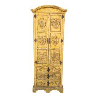 Yellow Distressed Spanish Armoire