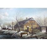 "Image of ""Winter Scene on Frozen Lake"" Painting"