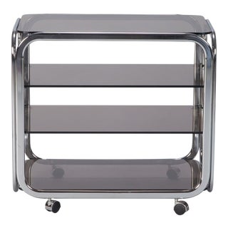 Mid Century Polished Chrome and Smoked Glass Trolley