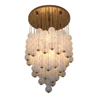 Very Huge Opaline Murano Glass Balls and Brass Chandelier by Zero Quattro Milan