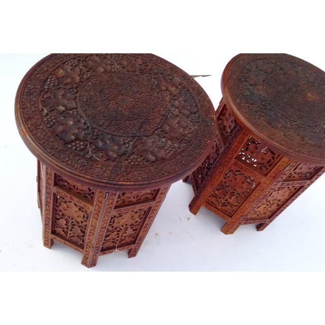 Anglo-Indian Rosewood Elaborately Carved Tables - Pair - Image 4 of 6