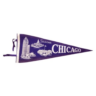 Vintage Chicago Souvenir Felt Flag