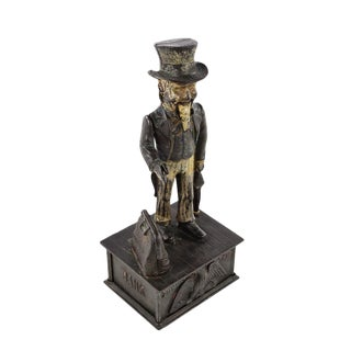 19th Century Antique Uncle Sam Cast Iron Coin Bank