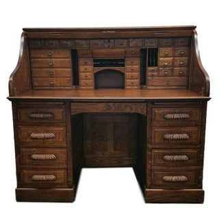 Antique Tiger Oak Desk by Derby Boston Desk