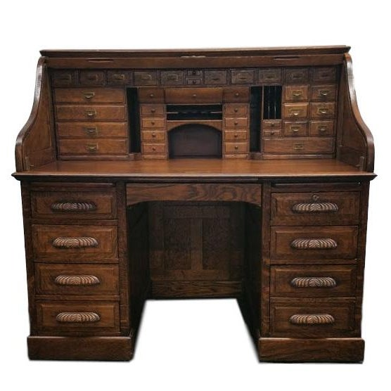 Antique Tiger Oak Desk by Derby Boston Desk - Image 1 of 6 - Antique Tiger Oak Desk By Derby Boston Desk Chairish