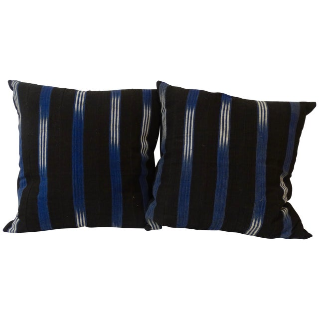 African Textile Pillows - Pair - Image 1 of 3