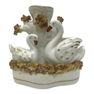 C.1880 Staffordshire Swans Spill Vase