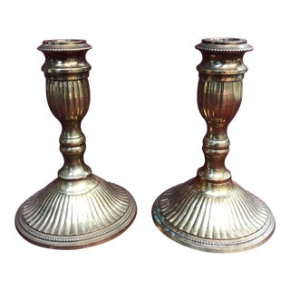 Vintage Solid Brass Candlestick Holders - A Pair