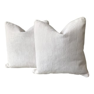 White Platinum Colored Cut Velvet Pillows - A Pair