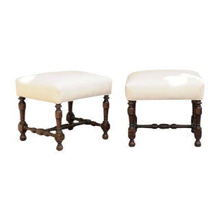 Pair of English Upholstered Stools with Stretchers from the Late 19th Century