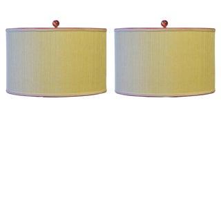 Grasscloth Drum Lamp Shades - A Pair