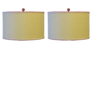Grasscloth Drum Lamp Shades - A Pair