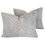 Image of Custom Aqua Blue Velvet Geometric Pillows - a Pair