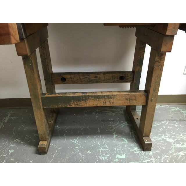 Image of Antique Rustic Wood Carpenter's Workbench