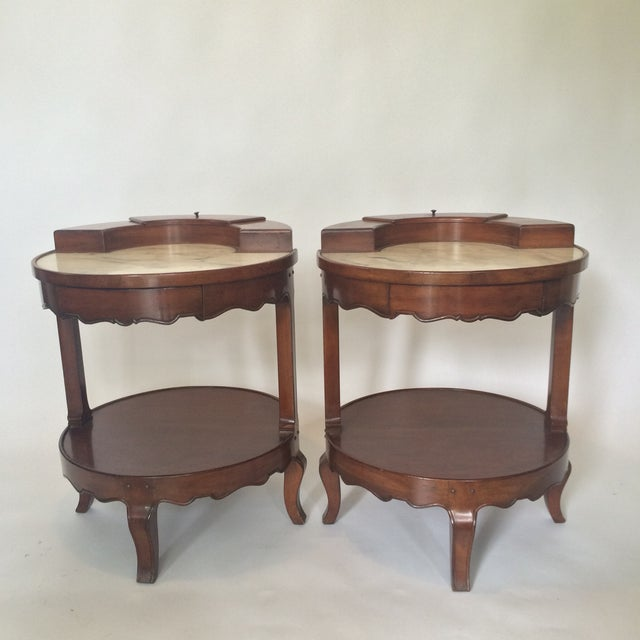 French Provincial Marble Top Side Tables - Pair - Image 2 of 11