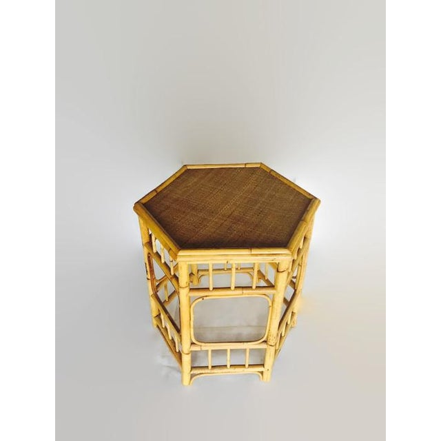Image of Vintage Bamboo Fretwork Side Table