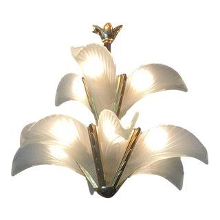 Italian Murano Glass & Brass Palm Tree Frond Leaf Chandelier