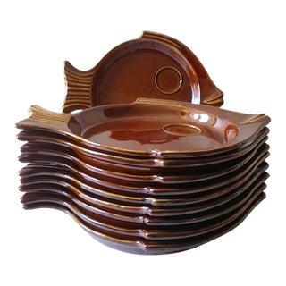 Mid Century Hall China #291 Fish Shape Plates - Set of 8