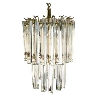 Round Glass & Brass Chandelier
