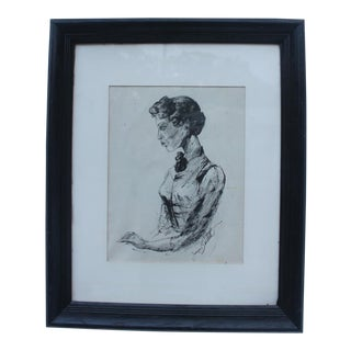"""James Battle """"Sabina at the Window"""" Portrait Drawing"""