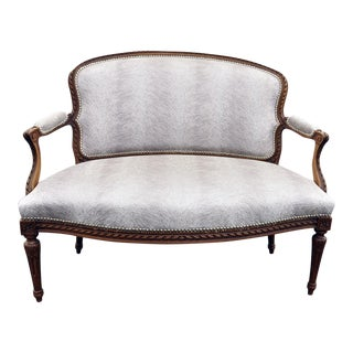 French Upholstered Walnut Settee