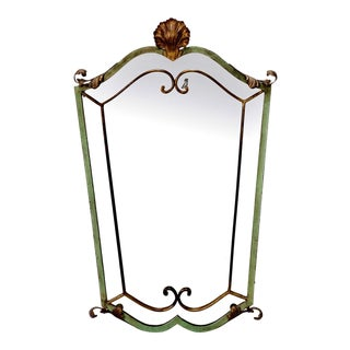 French Green & Gilded Metal Wall Mirror