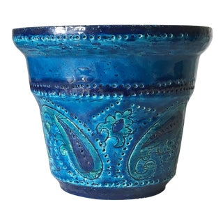 Vintage Aldo Londi Bitossi Mid Century Paisley Rimini Blue Flower Pot