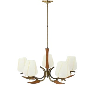 Mid-Century Modern Brass Art Glass Walnut Light Fixture