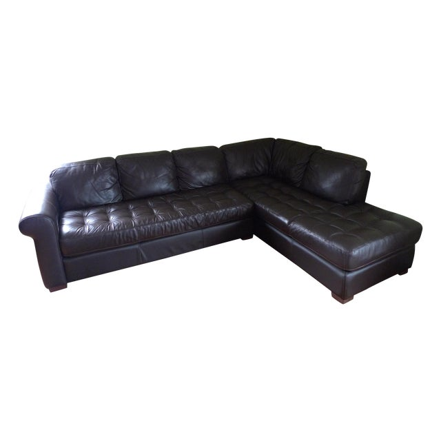 Chateau d'Ax Leather Sectional | Chairish