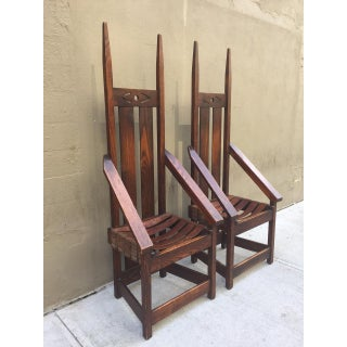 Pair High Back Mission Chairs in the Style of Charles Rohlfs