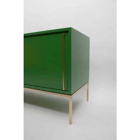 Customizable Re: 379 Grass Green Lacquered Credenza on Brass base - Image 3 of 9