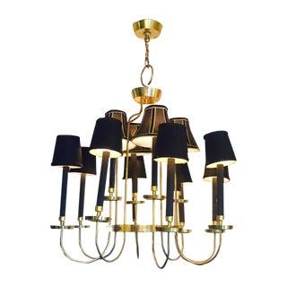 Mid-Century Italian Black & Brass Chandelier
