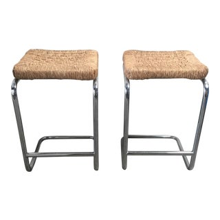 Vintage 1970's Chrome Bar Stools - A Pair