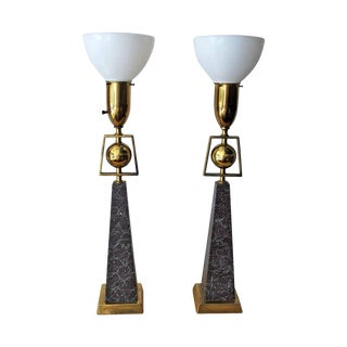 Mid-Century Ball and Obelisk Lamps - A Pair