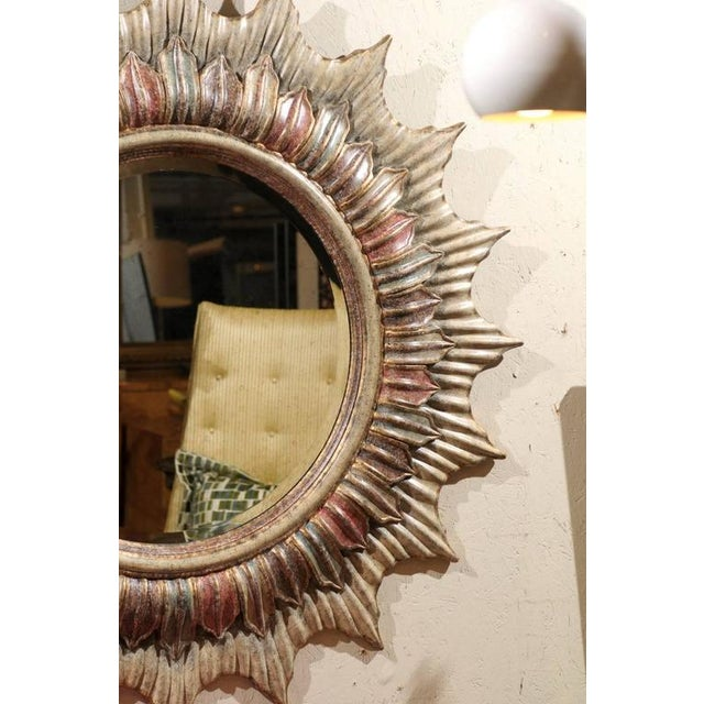 Image of Large Polychrome Sunburst Mirror