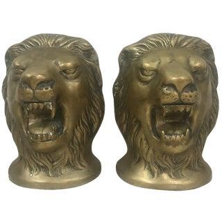 Brass Lion Head Bookends - a Pair