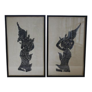 Mid-Century Charcoal on Rice Paper Temple Rubbings - A Pair