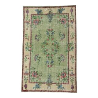 Vintage Floral Green Turkish Deco Rug - 6′4″ × 10′