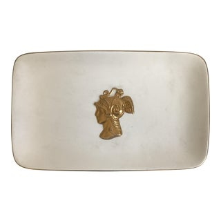 Matte White Serving Platter With Gold Bust