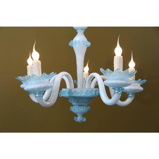 Image of Handblown Blue Murano Glass Chandelier with Five Arms