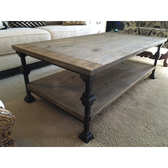 Rustic Wood And Metal Coffee Tables: Rustic Gray Wash Wood & Iron Coffee Table