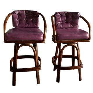 Vintage Purple Vinyl & Bamboo Bar Stools - A Pair