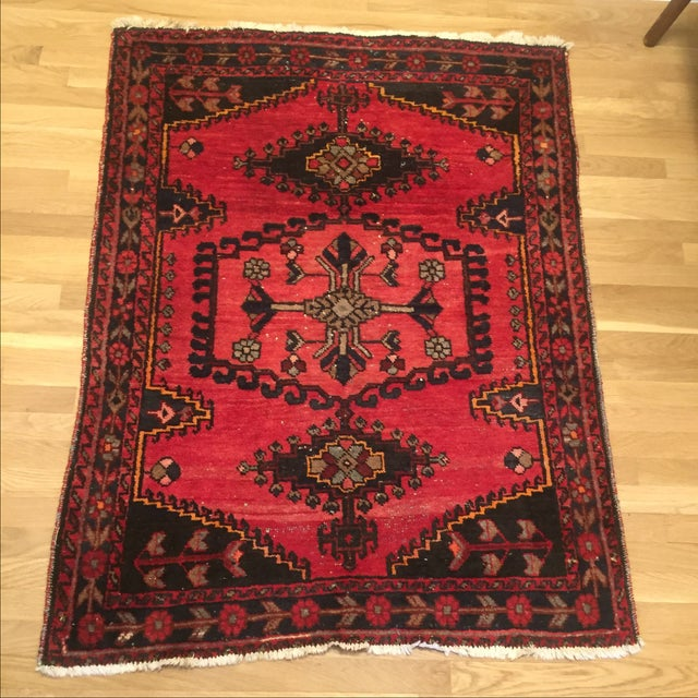 Vintage Hand-Knotted Red Rug - 3′8″ × 4′10″ - Image 2 of 6