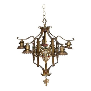 Vintage Tudor Style Polychrome Chandelier